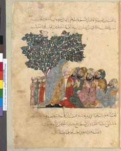1236-37 Arabe 5847, fol. 35, Maqâma 13: Abû Zayd déguisé en vieille femme et al-Hârith