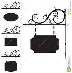 Wrought Iron Signs For Old-fashioned Design Stock Images - Image ...