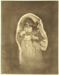 Portrait of a Paiute Indian papoose with fingers in its mouth, ca.1900 :: California Historical Society Collection, 1860-1960