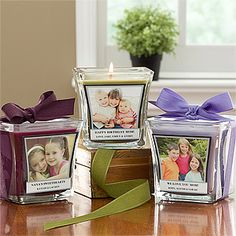 Personalized Photo Candles - Add your favorite picture and your own message. So cute! Perfect little gift for someone who has everything.