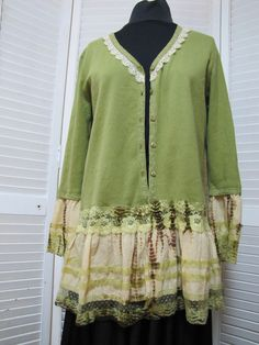 Upcycled Green Sweater One of a Kind Altered Couture Tie Dyed