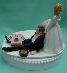 Wedding Cake Topper - Chicago Blackhawks Hockey Themed Jersey