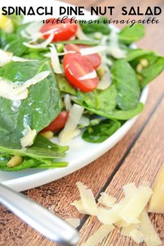 Create this tempting Spinach Salad with tomatoes, pine nuts, fresh parm cheese and a lemon vinaigrette - served with a delightful Marie Callender's Pot Pie