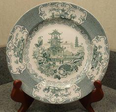 Allertons England RARE Green Transferware Chinese Pattern | eBay