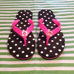 "NWT Kate Spade GULABI PNK/BLK Polka Flip Flops 7 Brand New Never Worn Kate Spade GULABI Pink Black and White Polka Dot Flip Flop Sandals Size 7. The back says ""M 7-8"" but these fit like a 7. I am a perfect size 7.5 and have bought hundreds of pairs of shoes. (Kate Spade clothes fit true to size but her shoes are all over the board. ) These are adorable on - so comfortable! I'm getting them in an 8 for me! Price is firm. kate spade Shoes Sandals"