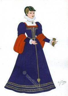 costume Renaissance.  Epoque de Charles IX.  16ème mode siècle.