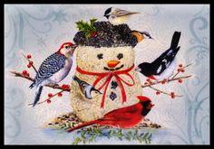 165-GC-Sherri-Buck-Baldwin-BIRD-SNOWMAN-Christmas-Greeting-Card