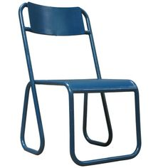 Pair of Blue Tubular Metal Chairs – France, 1950s ‹ Xavier Nicod