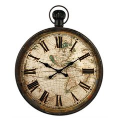 Antiqued Round Pocket Watch Clock with World Map