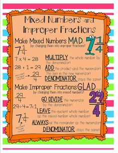 Improper Fractions and Mixed Numbers. {love the MAD and GLAD.who wants to be improper or work with large numbers like in improper fractions ; Math Charts, Math Anchor Charts, Fifth Grade Math, Fourth Grade, Sixth Grade, Third Grade, Improper Fractions, Multiplication, Math Intervention