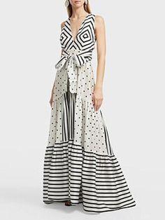 Polka Dots Patchwork Stripes V Neck Maxi Dress – mumetaz Beautiful Dress Designs, Beautiful Dresses, Awesome Dresses, Casual Dresses, Fashion Dresses, Summer Dresses, Maxi Dresses, Modelos Plus Size, Ladies Dress Design