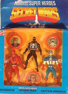 Check out the deal on Mattel Secret Wars - Daredevil, Black Spiderman, & Captain America (MISB) at Action Toys and Collectables Classic Comics, Classic Toys, Retro Toys, Vintage Toys, Amazing Toys, Awesome, Marvel Secret Wars, Spiderman Action Figure, Toys In The Attic
