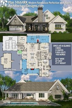 Architectural Designs House Plan 14664RK gives you 3BR, 2BA and over 2,400 sq. ft. of heated living space PLUS a bonus space over the garage. - I would screen in the back porch and add a couple of fans, but this is gorgeous otherwise!