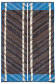 Kristianstad Läns Hemslöjd and Ingrid Dessau; Wool Flat Weave Rug, c1950.