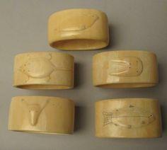 5 Eskimo Walrus Ivory Napkin Rings, Old
