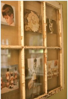 "The top left pic looks like my sis Deb when she was about 5 yrs old!! I'm planning on doing something like this, but not that peeling paint look or the pictures taped to the glass. I see stacks of old windows and doors in the old barn, I just have to get my husband to get them for me... He thinks I've lost it- decorating our new house with old window frames, wall hangings and planters made out of skids...""what's next?"""