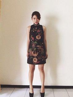 Black cheongsam Handdrawn batik dress , simple yet elegant