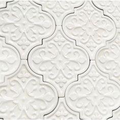 Florid Arabesque Bianco Ceramic Wall Tile Byzantine Florid Arabesque Bianco Ceramic Tile - Arabesque Tile - Shop By Tile Shape and PatternByzantine Florid Arabesque Bianco Ceramic Tile - Arabesque Tile - Shop By Tile Shape and Pattern Ceramic Wall Tiles, Mosaic Tiles, Tiling, Motif Arabesque, Backsplash Arabesque, Moroccan Tile Backsplash, Moroccan Tiles, Do It Yourself Design, Cement
