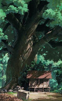 Tonari no Totoro (Hayao Miyazaki, Studio Ghibli - (ArtD: Kazuo Oga) Totoro, Studio Ghibli Art, Studio Ghibli Movies, Studio Art, Studio Ghibli Background, Animation Background, Editing Background, Fantasy Landscape, Landscape Art