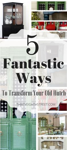 5 Fantastic Ways To Transform Your Old China Hutch! LOTS of painted and refinished china cabinets ideas to get you inspired for YOUR china hutch makeover! Painted china hutches. Painted china cabinets. Decoupaging china cabinets. China Hutch Makeovers. Beautiful China Hutch Cabinets. #paintedfurniture #chinahutches #furnitureideas #furnituremakeovers #chinahutch #flippingfurniture #paintedhutches #diy #furniturerestoration