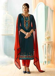 Buy latest salwar kameez from our different range of salwar suits online. Grab this cotton teal straight suit. Buy Salwar Kameez Online, Latest Salwar Kameez, Cotton Salwar Kameez, Salwar Suits Online, Indian Dresses, Indian Outfits, Indian Style Clothes, Punjabi Suits Online Shopping, Fashion Pants