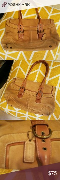 Coach tan purse satchel suede Soft suede leather tan coach bag large size as you can see in the picture a little dirty on the bottom but completely clean inside and authentic this is a rare find limited edition Coach bag coach Bags Satchels
