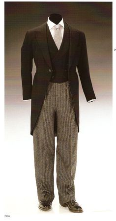 Jacket by Scholte is a herringbone cashmere weave and is marked H.M. The King, 25.1.36. Waistcoat matches the jacket and marked same. The morning trousers are by Forster & Son and marked 9.6.32