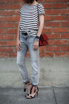 """Sezane """"La Garconne"""" stripe tee, Zara grey boyfriend jeans, tassel ankle-tie sandals."""