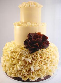 Venezuelan chocolate rosebud wedding cake