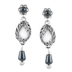 Carolyn Pollack Jewelry White Agate Winter Lace Drop Earrings