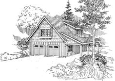 Garage Plan chp-40464 at COOLhouseplans.com.  I like this design with side porch on the left side instead.  Maybe no second floor???
