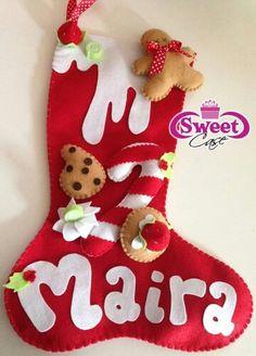 Bota navideña Felt Christmas Ornaments, Christmas Home, Christmas Stockings, Christmas Decorations, Xmas, Holiday Decor, My Sweet Sister, Felt Banner, Whimsical Christmas
