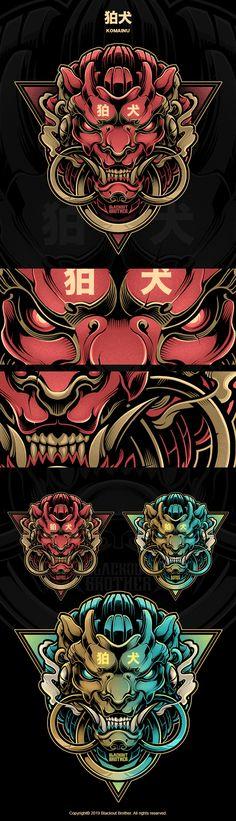 BLACKOUT BROTHER - KOMAINU Japanese Demon Mask, Japan Tattoo Design, Graffiti Wallpaper Iphone, Samurai Artwork, Japanese Tattoo Art, Tattoo Graphic, Cyberpunk Art, Japan Art, Armor Tattoo