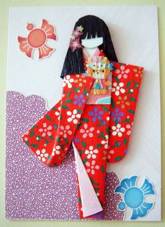 ATC258 - A Doll is a Girl's Best Friend. ATC with handmade Japanese paper doll.
