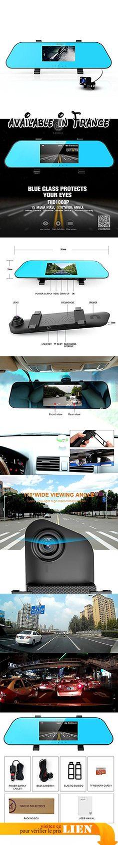 Merrill Dash Cam 10,9cm FHD 1080p LCD 140degrés appareil photo pour tableau de bord de voiture avec accéléromètre, WDR, enregistrement en boucle Super Vision nocturne Détection de mouvement h433Noir. Caméra de tableau de bord FHD 1080p angle 140° double canal 10,9cm LCD enregistreur caméra de voiture avec caméra arrière, accéléromètre, détection de mouvement, enregistrement en boucle Vision nocturne WDR. Enregistrement double avant et arrière-Avant