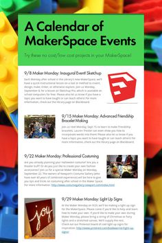 A Calendar of MakerSpace Events
