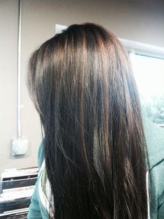 Cinnamon brown highlights with dark brown/black hair