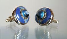 Niebieskie oko - spinki do mankietów www.gulbierz.pl #ceramika #jewellery