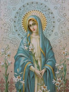 Shop Blessed Virgin Mother Mary with Lilies Fleece Blanket created by ShowerOfRoses. Personalize it with photos & text or purchase as is! Religious Pictures, Religious Icons, Religious Art, Blessed Mother Mary, Blessed Virgin Mary, Images Of Mary, Mama Mary, Holy Mary, Madonna And Child