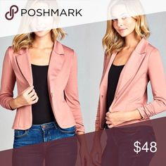 ✨Dusty Mauve Blazer✨ Get in style this spring with this beautiful dusty mauve blazer! Perfect for work or with a pair of skinnies! 85% Polyester, 11% Rayon, 4% Spandex. Does have some stretch. WILA Jackets & Coats Blazers