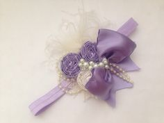 Lavendar and cream rosette headband couture by ChloeRoseCouture