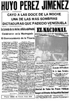 El Nacional del día jueves 23 de enero de 1958, Primera Página.