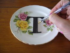 A DIY: Modern China free style or use diy stencil , paint on first initial