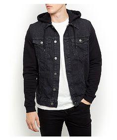 Black Jersey Sleeve Hooded Denim Jacket  | New Look
