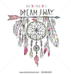 hand drawn illustration of dream catcher, native american poster - stock vector
