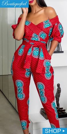 Off Shoulder Puffed Sleeve Print JumpsuitYou can find African fashion and more on our website.Off Shoulder Puffed Sleeve Print Jumpsuit African Fashion Ankara, Latest African Fashion Dresses, African Dresses For Women, African Print Dresses, African Print Fashion, African Attire, Africa Fashion, African Prints, African Style