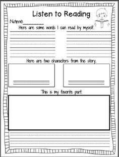 Classroom freebies too: listening response sheets reading logs, reading centers, reading stations, Daily 5 Reading, 3rd Grade Reading, Kindergarten Reading, Reading Activities, Teaching Reading, Guided Reading, Close Reading, Reading Response Journal First Grade, First Grade Reading Comprehension