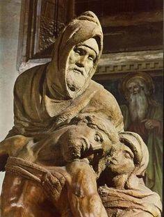 (Pieta on Michelangelo's tomb in Florence) The man in hood is a self-portrait of Michelangelo. Giorgio Vasari, Michelangelo Artist, Italian Sculptors, Catholic Art, Caravaggio, Western Art, Renaissance, Art Gallery, Lion Sculpture