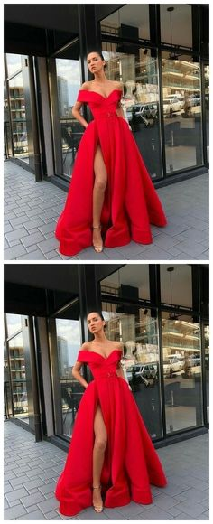 Sexy V-Neck Red Prom Dresses A-Line Floor-Length Satin Evening Dress Slit Party Gowns  by olesaweddingdresses, $129.88 USD Evening Dresses, Prom Dresses, Formal Dresses, Chromatic Aberration, Wedding Veil, Party Gowns, Satin, V Neck, Plus Size