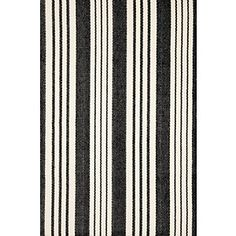 Get the best of both worlds with this durable, washable, and eco-friendly indoor/outdoor rug in a classic black and ivory stripe that will blend beautifully into both traditional and modern spaces.   Birmingham Black also available in  woven cotton.
